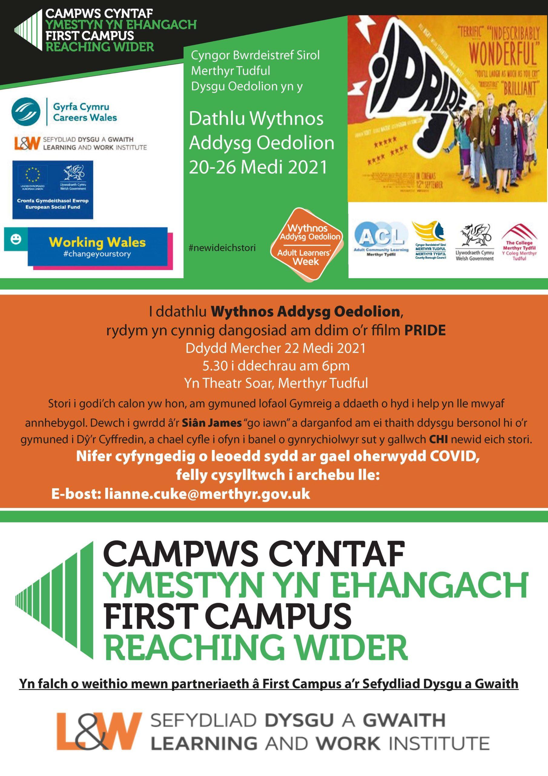 Wythnos Dysgu Oedolion Pride Flyer